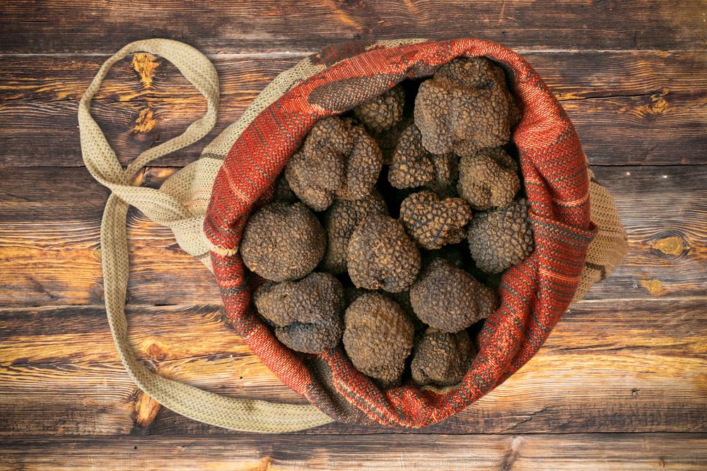 Black Truffles in Bag on Wooden Board