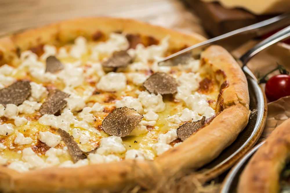 Pizza with black truffle oil